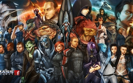 Wallpaper Mass Effect, game characters, art painting