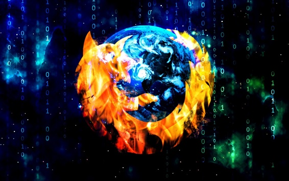Wallpaper Mozilla Firefox browser, creative design logo