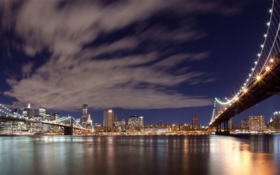 壁紙 ニューヨーク、ライト、橋、川、高層ビルの夜