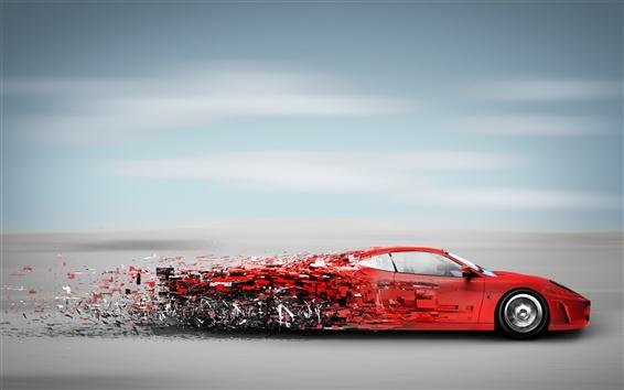 Обои Красный спортивный автомобиль на высокой скорости хода, мусор творческой