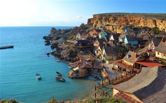 壁紙 海、村、家、崖、ボート、青空