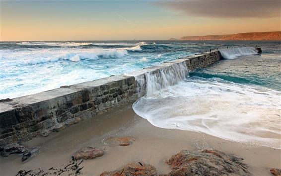 Обои Морская вода захлестнула плотины, прибрежные пейзажи