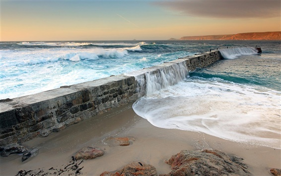 Wallpaper Sea water swept over the dams, coastal scenery