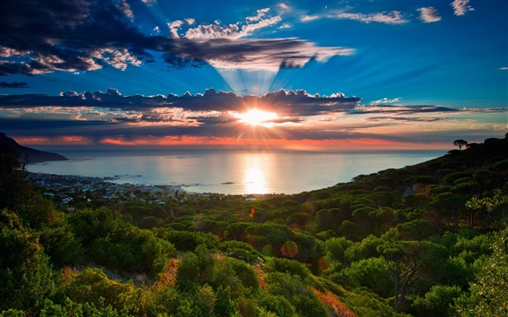 Wallpaper South Africa, Cape Town, sunset scenery, sea, coast, sky, clouds