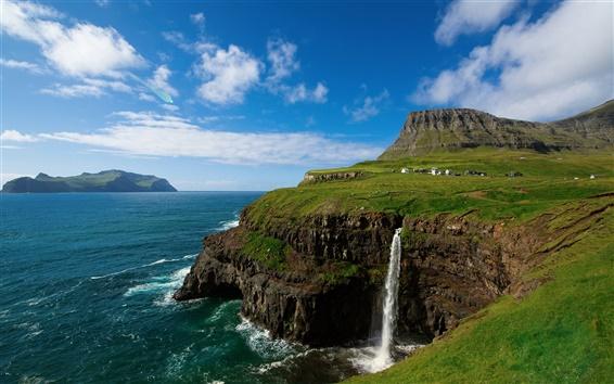 Wallpaper The Kingdom of Denmark, the Faroe Islands, village, mountains, waterfalls, sky, sea, blue