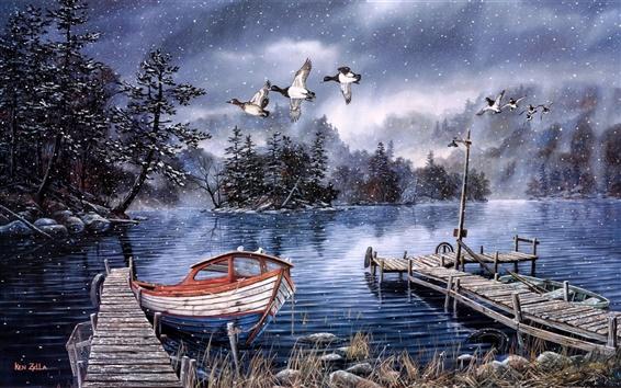 Обои Акварельная живопись, озера и леса, снега зимой, док-станции, утки, лодки