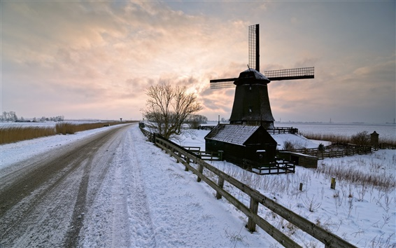 Wallpaper Winter snow, road, windmill, sunset