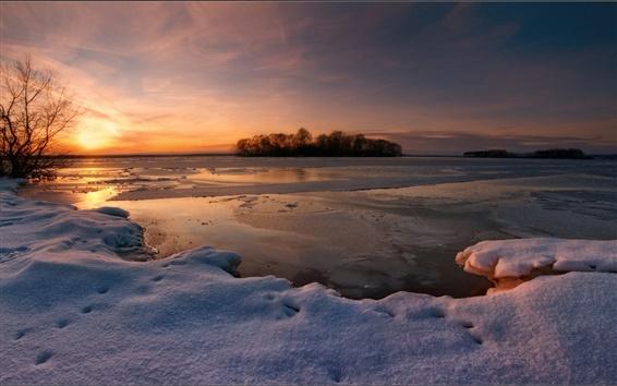 Fond d'écran Hiver neige, coucher de soleil, lac