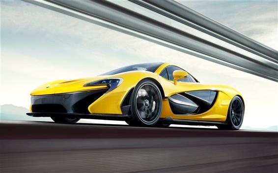 Обои 2013 McLaren P1 желтые суперкар