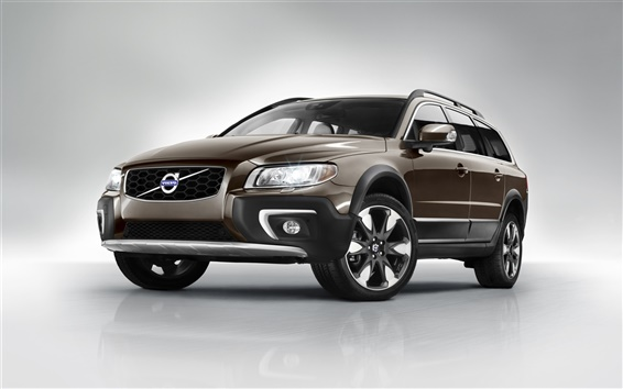 Wallpaper 2014 Volvo XC70 SUV brown color