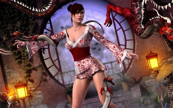 Обои 3D фантазия девушка с драконом