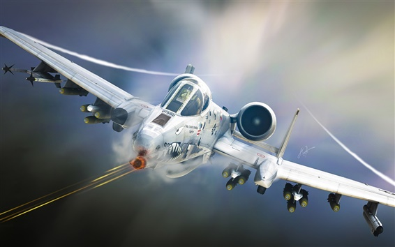 Wallpaper A-10 Tankbuster, attack aircraft, airplane, art design