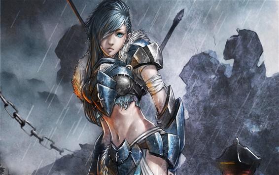 Hintergrundbilder Kunst Gemälde, Soldatin in der regen, fantasy girl