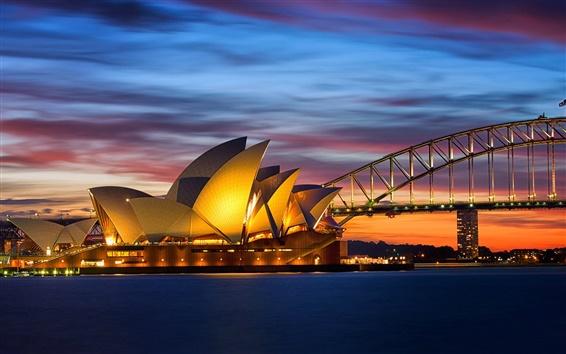 壁紙 オーストラリア、シドニーオペラハウス、ブリッジの夜ライト