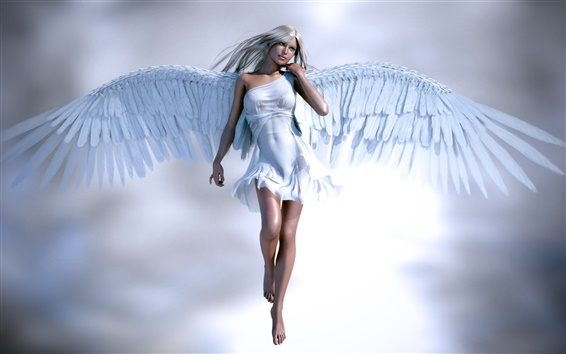 Wallpaper Beautiful angel girl, white clothes and wings