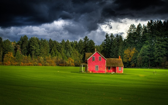 Wallpaper Canada, British Columbia, cloudy sky, forest, farm, red house