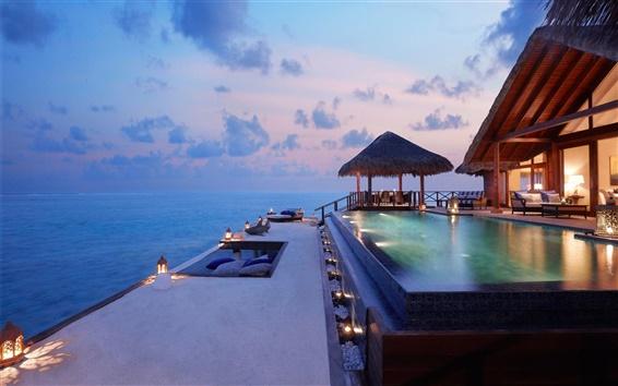 Wallpaper Coast, hotel, pool, lights, sunset
