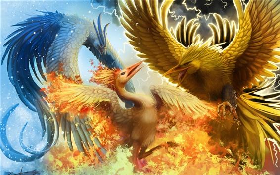 Wallpaper Creative design, three phoenix war in the sky