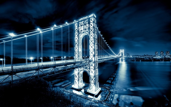 Wallpaper George Washington Bridge, New Jersey, Manhattan, Hudson River, New York City, USA, night lights