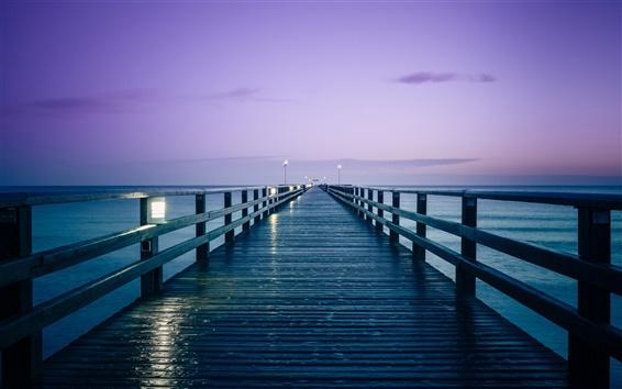 Wallpaper Germany, Baltic sea, pier, sunrise, morning, lights