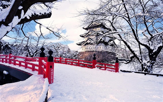 Wallpaper Japan, Aomori Prefecture, Hirosaki, winter snow, bridge, castel, ice trees