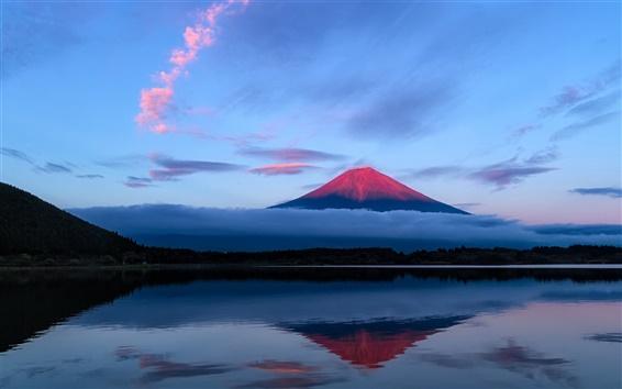 Wallpaper Japan, Fuji mountain, evening, sky, lake, reflection, blue