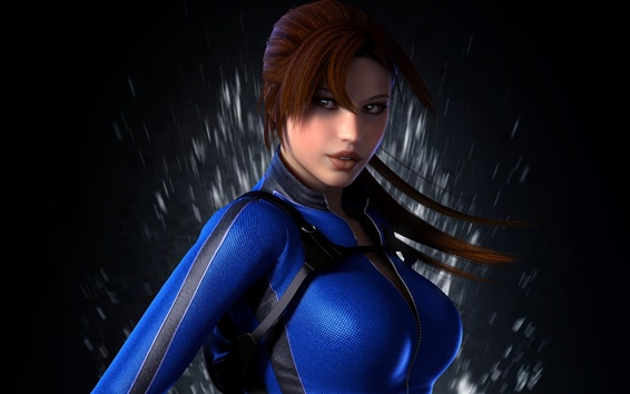 Wallpaper Lara Croft, Tomb Raider, blue clothes