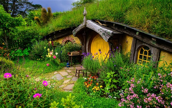Wallpaper Lord of the Rings, Hobbit house, hill, flowers, grass