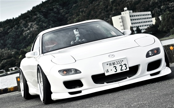 Wallpaper Mazda RX7, white car, Japan