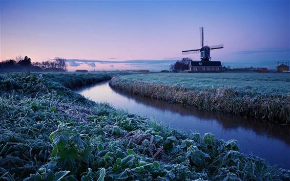 Wallpaper Netherlands winter morning, sunrise, farm, windmill, frost, river, blue sky