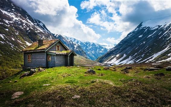 Papéis de Parede Noruega cenário, montanha cabana