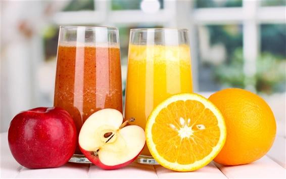 배경 화면 영양 주스, 사과, 오렌지