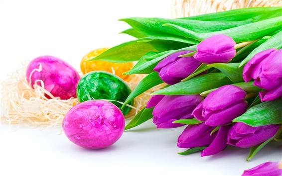 Fondos de pantalla Flores púrpuras del tulipán con los huevos de Pascua