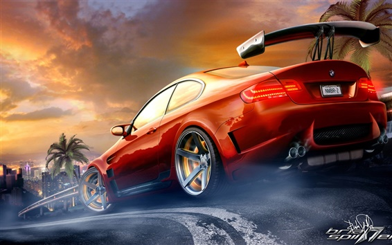Wallpaper Red BMW M3 sport car in the race