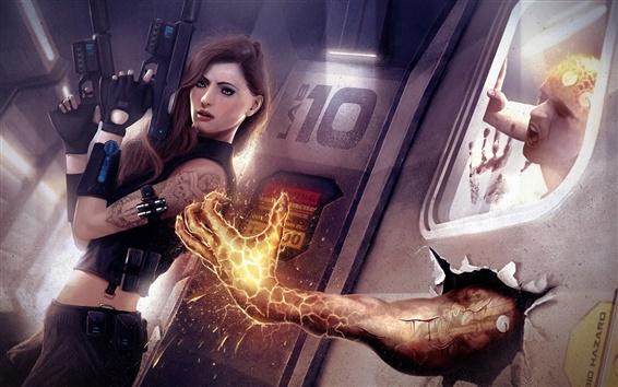 Wallpaper Resident Evil, warrior girl