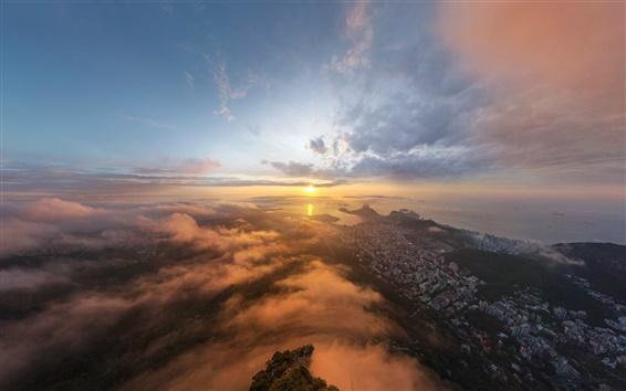 Wallpaper Rio de Janeiro, city early morning landscape, sun, sunrise
