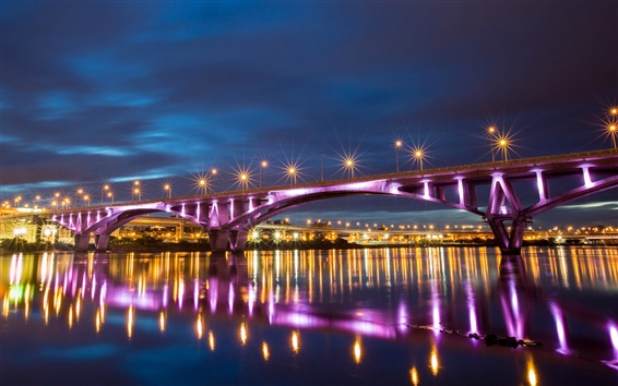 Wallpaper Taiwan, Taipei, city night, bridge lights, river, reflection
