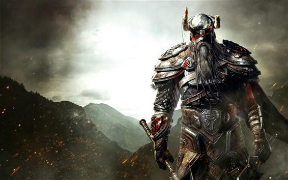 Wallpaper The Elder Scrolls Online, Viking, armor, sword