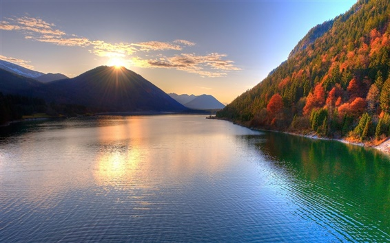 Wallpaper The beauty of autumn, the mountains, the sun, lake, trees