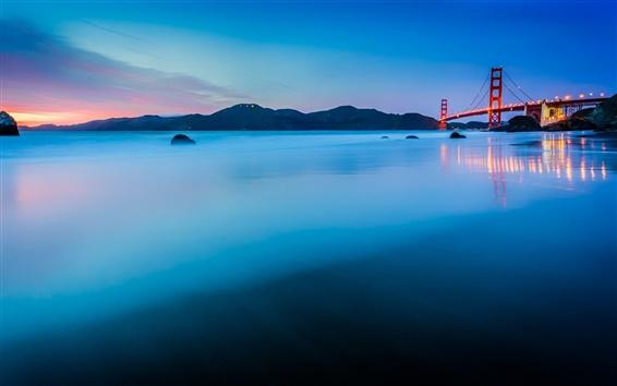 Fondos de pantalla EE.UU., California, San Francisco, el Golden Gate Bridge, puesta del sol, azul, océano