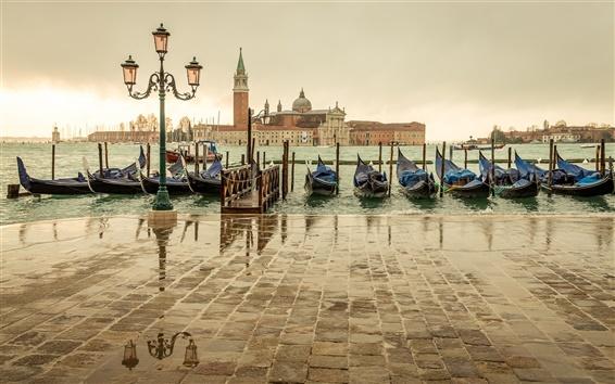 Fond d'écran Venise, Italie, San Giorgio Maggiore, quai, bateaux, mer, maison