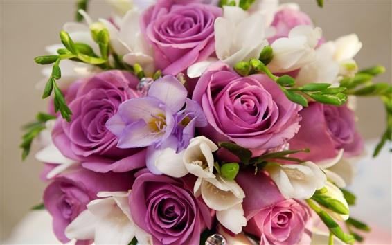 배경 화면 보라색 꽃, 장미, 꽃다발