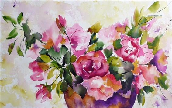 Papéis de Parede Pintura em aquarela de flores