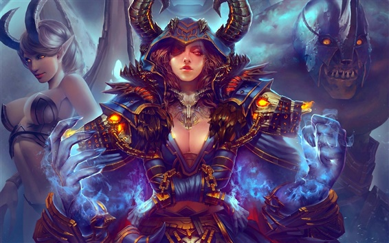 Wallpaper World of Warcraft, art painting, girl, monster