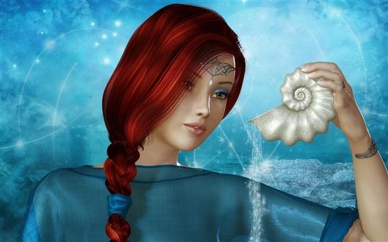 Papéis de Parede Marrom bonito menina fantasia de cabelo, vestido azul
