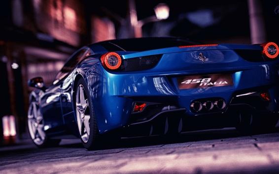 Fondos de pantalla Ferrari supercar azul en calle de la ciudad