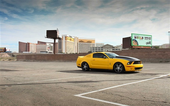 Wallpaper Ford Mustang GT500 yellow car