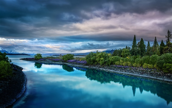 Wallpaper France Paris, nature landscape, lake, sky, clouds, trees