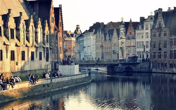 Wallpaper Ghent, Belgium, city houses, buildings, river water, reflection, bridge