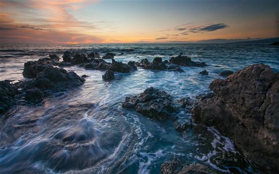 Обои Гавайи пейзажи, море, скалы, закат